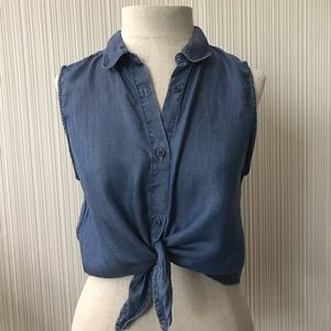 Aritzia Talula Chambray Button up Tank with Tie
